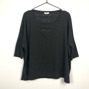 LNA Slit Front Short Sleeve Tee Black Cutout Top